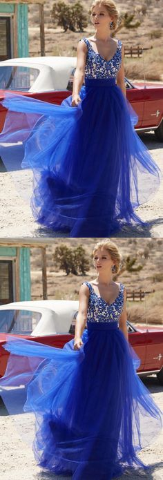 Long Prom Dresses 2017, Blue Prom Dresses 2017, Prom Dresses 2017, Blue Prom Dresses, Long Prom Dresses, Prom Long Dresses, Prom Dresses Royal Blue, Tulle Prom Dresses, Royal Blue Long Prom Dresses, Royal Blue dresses, Sleeveless Prom Dresses, Royal Blue Sleeveless Prom Dresses, Long Evening Dresses, royal blue prom dresses A-line Straps Floor-length Tulle Prom Dress/Evening Dress