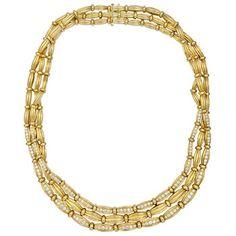 18k Gold & Diamond 3-Row Collar Necklace