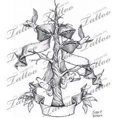 Marketplace Tattoo Family Tree with Banners #12908 | CreateMyTattoo.com