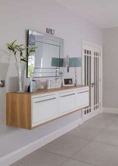 Floating sideboard with oak wrap Sideboard, Double Vanity, Cabinet, Bathroom, Storage, Kitchen, Furniture, Home Decor, Jelly Cupboard