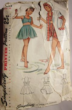 Simplicity 2453 Girl SwimSuit 1940 Vintage Sewing Pattern.