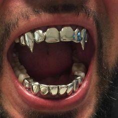no death can tear us apart Vampire Grillz, Fang Grillz, Tooth Gem, Piercings, Grills Teeth, Gold Teeth, Gold Fangs, Aquarius Rising, Henna Tattoo Designs