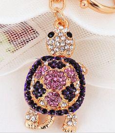 Purple Rhinestone Turtle Keychain