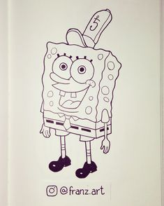 Inktober 2016. Day 5 - Spongebob Squarepants / Bob Esponja Calça Quadrada. #inktober #inktober2016 #spongebob #bobesponja #nickelodeon #art #arte #drawing #draw #desenho #sketch #ink #doodle #artwork #character #characterdesign #tv #animation #cartoon #childhood #nostalgia #sketchbook #artist #illustration #personagem #fanart #franzart #franzartinktober