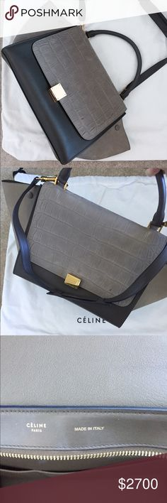 Celine trapeze- grey color In v v good condition hardly use 10 to 15 times for hours only comes with all original receipt and dust bag bought from Neman Marcus Chicago - medium size Celine Bags Shoulder Bags