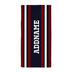 Red White Navy Stripes Personalized Beach Towel
