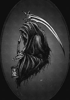 arcusxx: art by barguest ( my edits ) – The beginning of the end Death Reaper, Grim Reaper Art, Grim Reaper Tattoo, The Reaper, Dark Artwork, Skull Artwork, La Santa Muerte Tattoo, Body Art Tattoos, Sleeve Tattoos