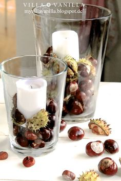 Making autumn decoration yourself - 15 DIY craft ideas for the third season - Deko - New Swedish Design, Autumn Table, Conkers, Autumn Decorating, Autumn Crafts, Summer Crafts, Diy Candles, Decoration Table, Seasonal Decor