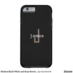 Modern Black White and Gray-Brown Monogram Tough iPhone 6 Case