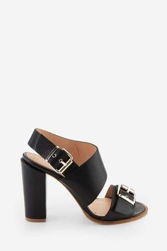 Asymetrical Sandals in full-grain leather BLACK