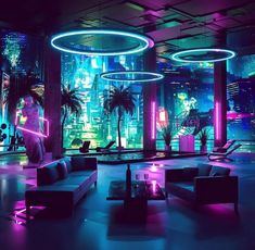 All Synthwave retro and retrowave style of arts - Synthwave Retrowave - room neon Cyberpunk Aesthetic, Neon Aesthetic, Aesthetic Rooms, Cyberpunk Rpg, Cyberpunk Fashion, Design Club, Nightclub Design, Neon Room, Luxury Houses