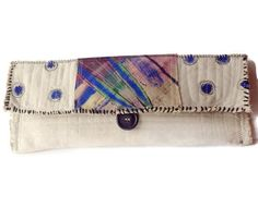 Elongated Painted Canvas Clutch Bag by itzaChicThing on Etsy