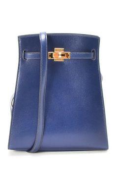 Vintage Hermes Leather Kelly Sport PM Shoulder Bag (Stamp: Circle U, Gold Hardware) - Navy by LXR