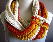 Crochet Cowl Neck. Love the use of white to punch up the colors.