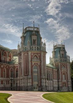 Tzaritzino Moscow, Russian. This is the palace ordered and then stopped by Catherine The Great. Left as a vacant shell for centuries, the palace was completed since the fall of the Soviet Union.