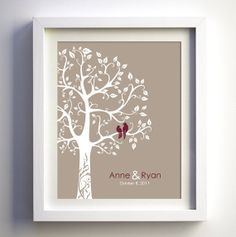 Personalized Wedding Gift - 1st Paper Anniversary Gift - Love birds in the tree Personalized Wedding Day Gift for her