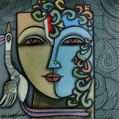 Painting woman face abstract 20 ideas for 2019 Flower Drawing Tutorials, Flower Sketches, Art Sketches, Madhubani Art, Madhubani Painting, Krishna Painting, Krishna Art, Zantangle Art, Indian Folk Art