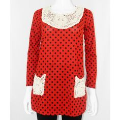 Polka Dot Top With Crochet Patchwork http://www.trendzystreet.com/clothing/tops-blouses/red-polkadot-woolen-top-tzs5872