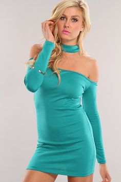 You can say with certainty that this strapless sheath dress delivers astounding style!  No doubt this dynamic dress looks fab with glitter-covered pumps, creating a certifiably fierce ensemble! This stylish dress features long sleeves, racer back with mock neck, off shoulders and tight fitted to show off those sexy curves you have. 95% Polyester 5% Spandex