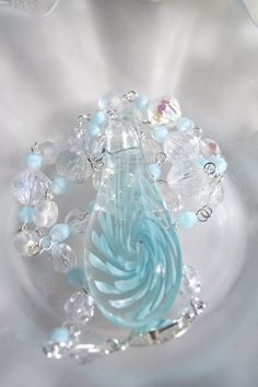 OOAK Blue and Crystal Swirl Lampwork and Czech by EgeriasWell, $80.00