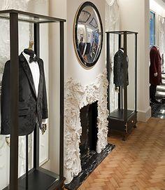 {Alexander McQueen Men's Store, Saville Row, London} Remembering David Collins Visual Merchandising, Herringbone Tile Pattern, David Collins, Chevron Floor, Sarah Burton, Fashion Wallpaper, Wallpaper Magazine, Savile Row, Design Furniture