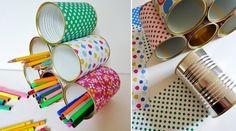 es pots à crayons Des boîtes de conserve se transforment en jolis pots à crayons…