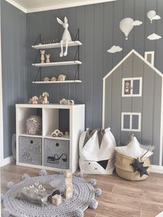 Lukas' Stylish and Impactful Boy's Room - house and mountain wall decor made with masking tape on grey panelled walls, two toned colour palette grey Boy Toddler Bedroom, Boys Bedroom Decor, Baby Nursery Decor, Baby Boy Rooms, Baby Decor, Nursery Room, Child's Room, Home Room Design, Nursery Storage
