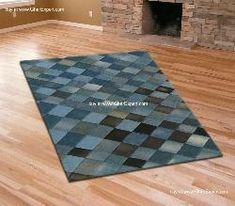 Recycled jeans carpet with diamond pattern--this would be so easy to duplicate!  Link shows other great ideas, too.