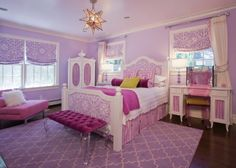 Pink white purple girls room