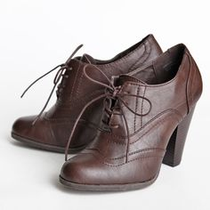 Fenton oxford heels. Cheap, stylish, all man made materials so I can wear them in the rain and not worry!