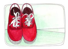 art Illustration Print of Red Shoes 8x10 - Let's Go on an adventure. $18.00, via Etsy.