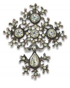 croix de Saint Lô, argent et strass - bijou normand - copie récent