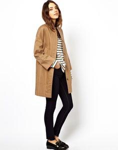 ASOS – Gebondeter Mantel mit Taschen und Ziernähten