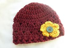 0 to 3 months Crochet baby beanie Burgundy and Gold by AngieMade, $12.00
