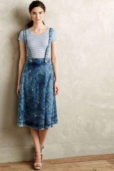 Plenty by Tracy Reese Splattered Denim Overall Skirt #anthrofave