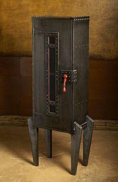 Steampunk-style cabinet. I love the reddish-orange accents.