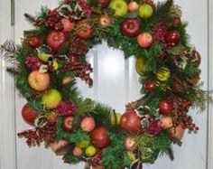 Fall Wreath, Apple Wreath,Harvest Wreath, Autumn Wreath, Pine Wreath, Fireplace Wreath, Door Wreath