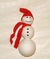 Schneemann aus Wattekugeln basteln