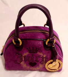Juicy Couture Handbag Speedy Bowler Gloucester Velour Purple