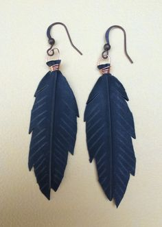 Recycled Bike Tube Feather Earrings  by maybirdjewelry on Etsy