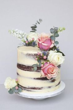 Naked Rose Victoria Sponge, love the idea of a naked cake Fancy Cakes, Cute Cakes, Pretty Cakes, Beautiful Cakes, Bolos Naked Cake, Nake Cake, Novelty Birthday Cakes, Cake Birthday, Rustic Birthday Cake