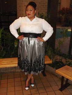 Plus fashion blogger Kiah wearing Ralph Lauren white shirt, Asos Curve belt, Avenue skirt and Lane Bryant shoes