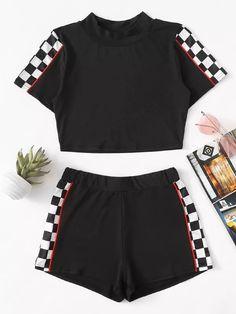 Contrast Trim Gingham Panel Top With Shorts -SheIn(Sheinside) Trajes  Deportivos 4b37e06ba5f9