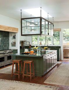 10 cozinhas em diversos tons de verde