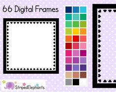 Heart Square Digital Frames 1 - Clipart Frames - Instant Download - Commercial Use