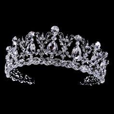 Just stunning! Regal CZ and Rhinestone Vintage Inspired Wedding Tiara - Affordable Elegance Bridal - Bridal Crown, Bridal Tiara, Bridal Headpieces, Bridal Jewelry, Silver Jewelry, Silver Rings, Wedding Tiaras, Bling Wedding, Rhinestone Wedding