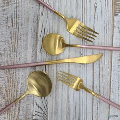 This beautiful matte gold-plated stainless steel, with pink handles, flatware set is sure to impress. Each utensil is made of premium 18/10 stainless steel and features a modern pink thin handle design that will enhance any tablescape. It's perfect for everyday use, parties, restaurants, or date night at home. Host some friends and enjoy your meal with this modern set, or gift it to a friend so they can serve in style.