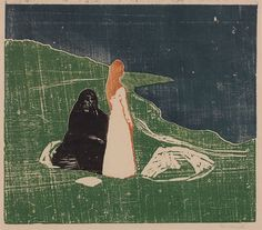 Edvard Munch, Two Women on the Shore, c.1910 . Woodcut