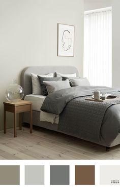 Bedroom Colour Palette, Bedroom Wall Colors, Bedroom Color Schemes, Cozy Bedroom, Home Decor Bedroom, Modern Bedroom, Scandinavian Style Bedroom, Nordic Bedroom, Bedroom Brown