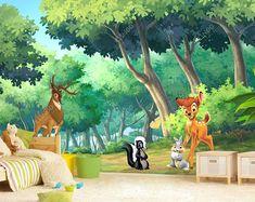 Bambi Wall Mural, Wallpaper, Wall décor, Nursery and room décor, Wall art, Canvas print